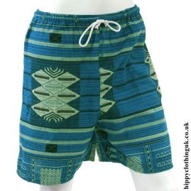 Blue Long Cotton Hippy Shorts