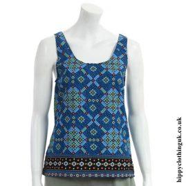 Blue Patterned Rayon Hippy Vest Top