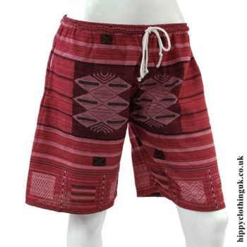 Burgundy Long Cotton Hippy Shorts