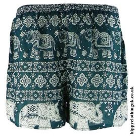 Green-Ladies-Elephant-Print-Hippy-Shorts
