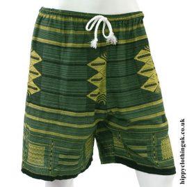 Green Long Cotton Hippy Shorts