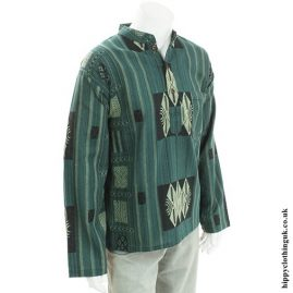 Green Patterned Grandad Shirt