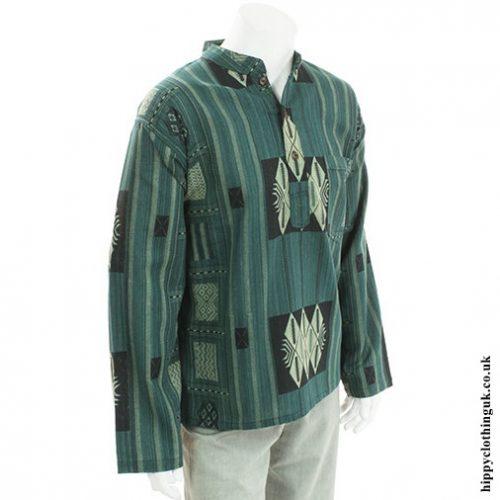 Green Patterned Grandad Shirt