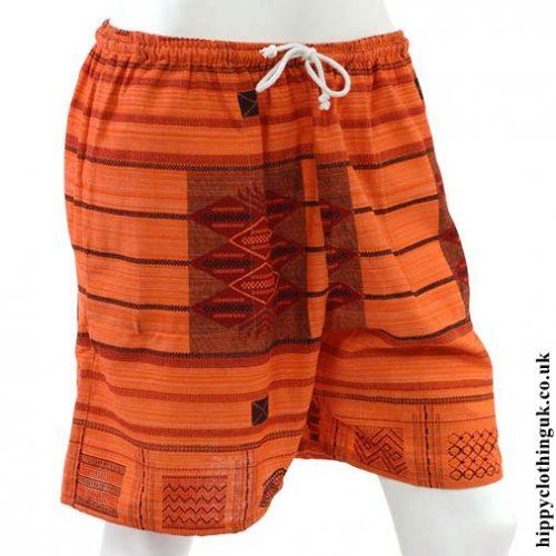 Orange Long Cotton Hippy Shorts