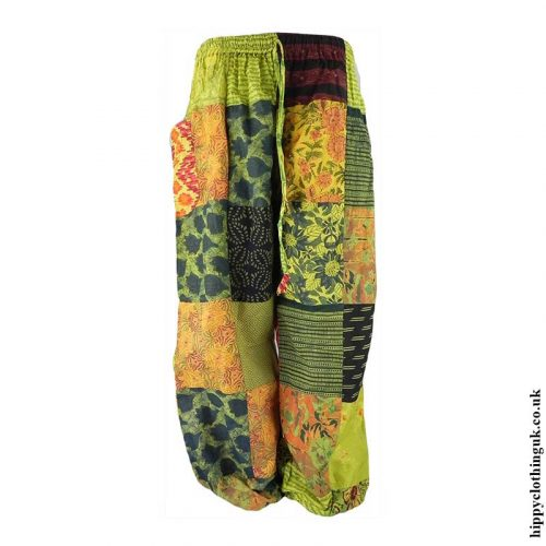Patchwork-Harem-Hippy-Trousers-Lime-Green