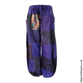Patchwork-Harem-Hippy-Trousers-Purple