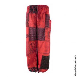 Patchwork-Harem-Hippy-Trousers-Red