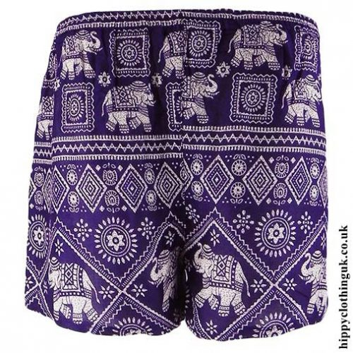 Purple-Ladies-Elephant-Print-Hippy-Shorts