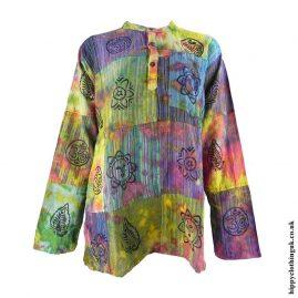 Multicoloured-Tie-Dye-Patchwork-Grandad-Shirt