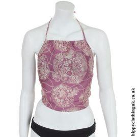 Pink Tie Back Halterneck Blouse
