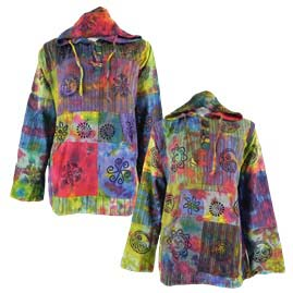 Tie Dye Patchwork Hooded Shirts