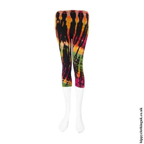 Black-Multicoloured-Short-Tie-Dye-Leggings