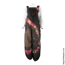 Brown-Tie-Dye-Hippy-Patchwork-Dungarees