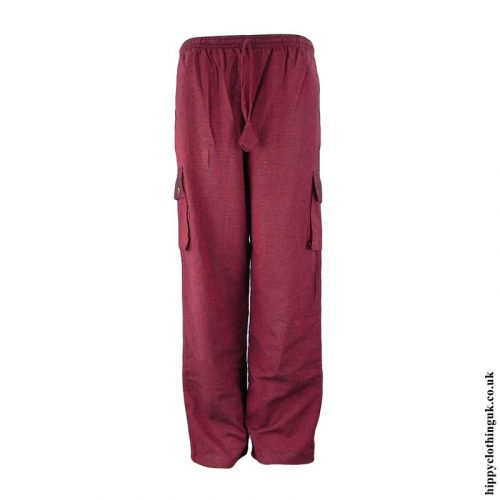 Burgundy-Plain-Cotton-Nepalese-Hippy-Trousers