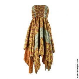 Golden-Recycled-Sari-Pixie-Hem-Hippy-Dress-Skirt