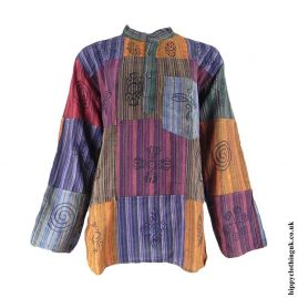 Multicoloured-Patchwork-Cotton-Hippy-Grandad-Shirt