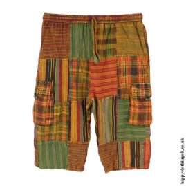 Orange-and-Green-Cotton-Patchwork-Long-Festival-Shorts