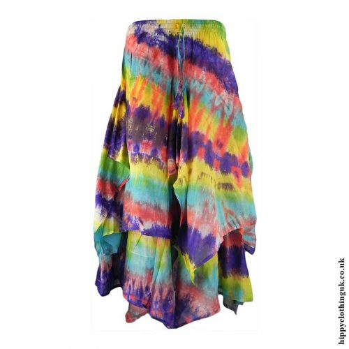 Ragged-Hem-Multi-Layered-Pixie-Hem-Tie-Dye-Hippy-Skirt