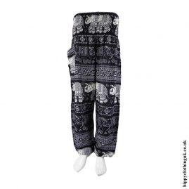 Black-Elephant-Print-Harem-Pants
