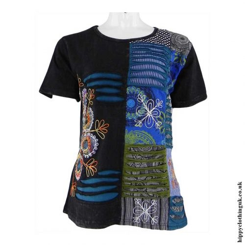 Black-Embroidery-Patchwork-Hippy-T-Shirt