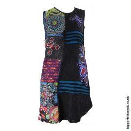 Black-Short-Embroidery-Patchwork-Hippy-Dress