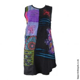 Black-Short-Embroidery-Patchwork-Hippy-Dress