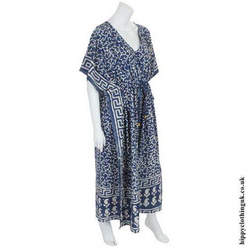 Blue Batik Kaftan Angle