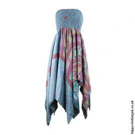 Blue-Recycled-Sari-Pixie-Hem-Hippy-Dress-Skirt