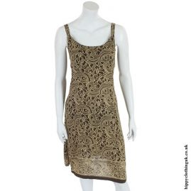 Brown Flower Print Hippy Dress