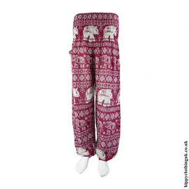 Burgundy-Elephant-Print-Harem-Pants
