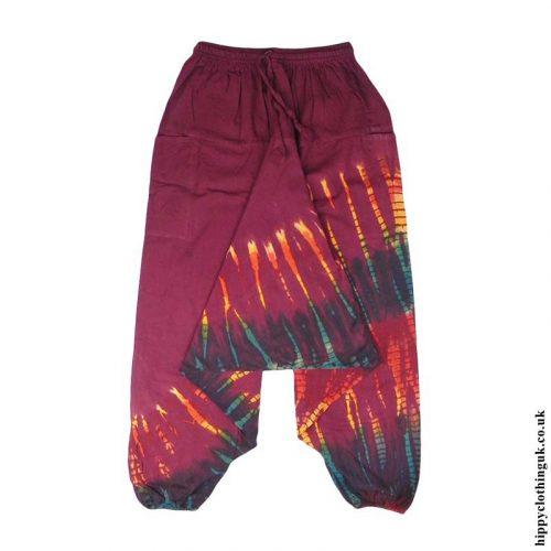 Burgundy-Multicoloured-Cotton-Hippy-Ali-Baba-Harem-Trousers