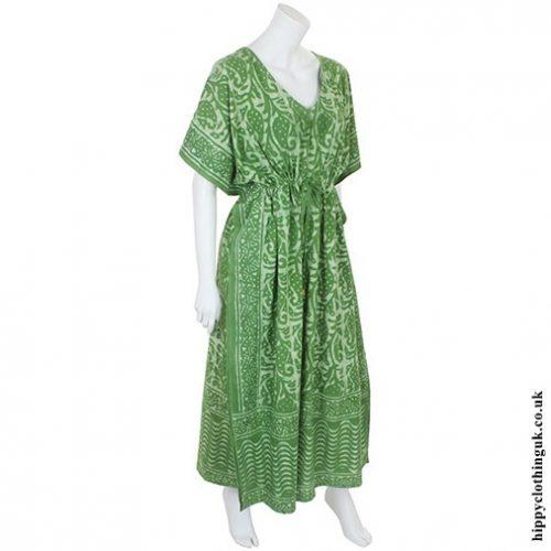 Green Batik Kaftan Angle