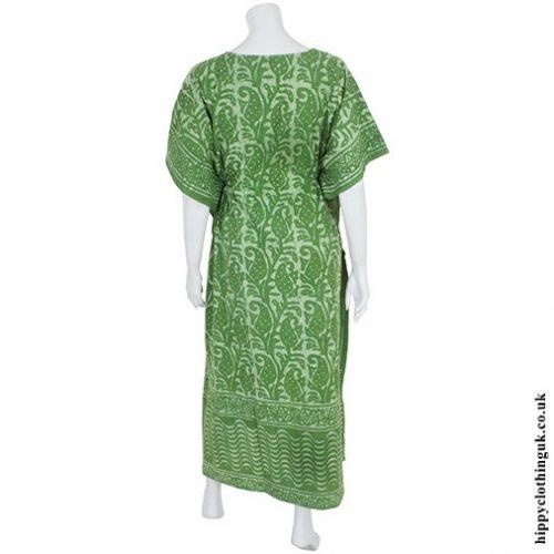 Green Batik Kaftan Back