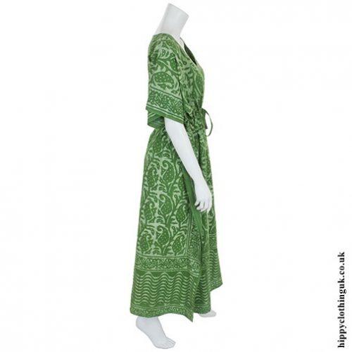Green Batik Kaftan Side
