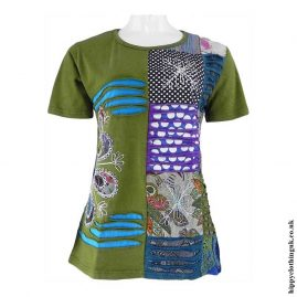 Green-Embroidery-Patchwork-Hippy-T-Shirt