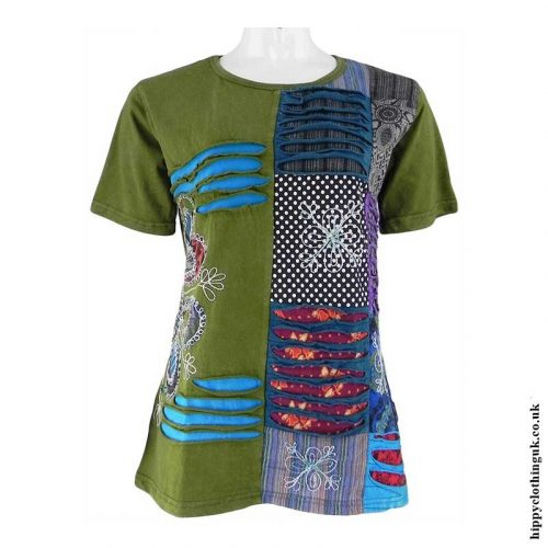 Green-Embroidery-Patchwork-Hippy-T-Shirt1