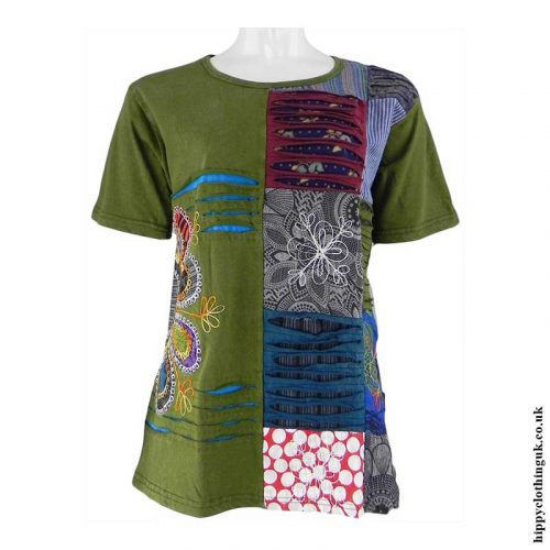 Green-Embroidery-Patchwork-Hippy-T-Shirt2