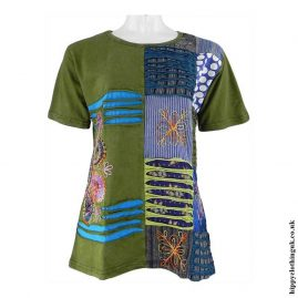 Green-Embroidery-Patchwork-Hippy-T-Shirt3