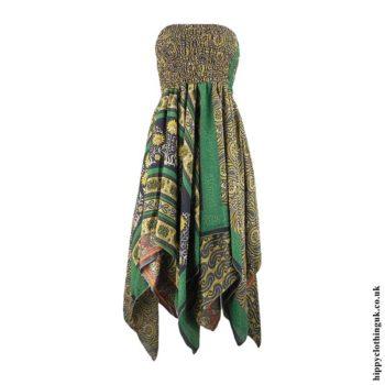 Green-Recycled-Sari-Pixie-Hem-Hippy-Dress-Skirt