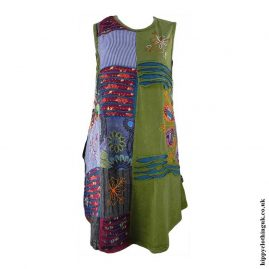 Green-Short-Embroidery-Patchwork-Hippy-Dress