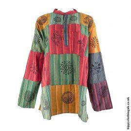Multicoloured-Patchwork-Cotton-Hippy-Grandad-Shirt