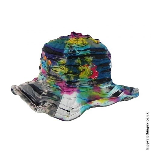 Multicoloured-Tie-Dye-Ripped-Effect-Hat