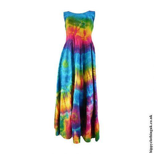 Multicoloured-Tie-Dye-Two-in-One-Cotton-Hippy-Ruffle-Dress