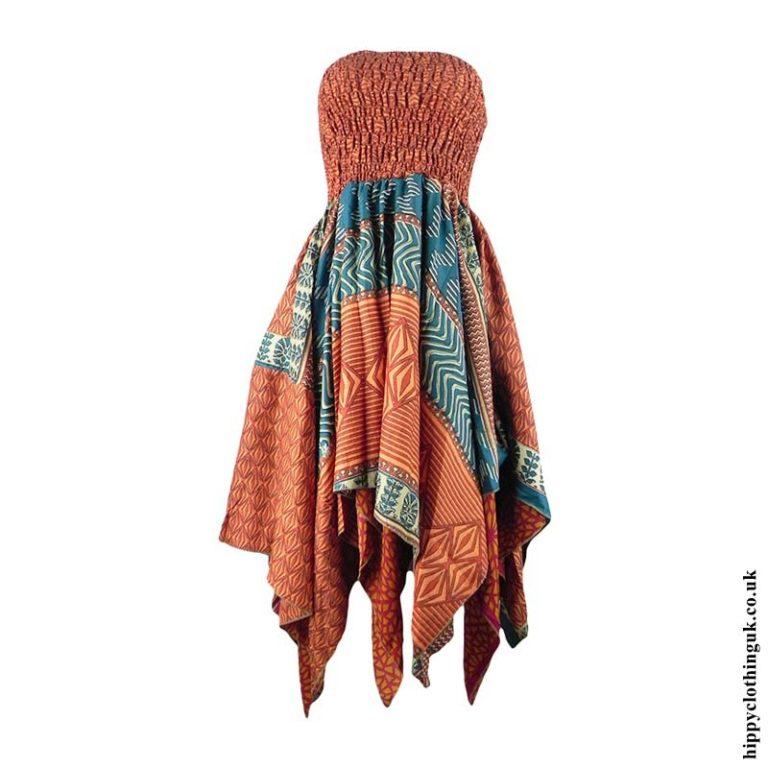 Orange-Recycled-Sari-Pixie-Hem-Hippy-Dress-Skirt