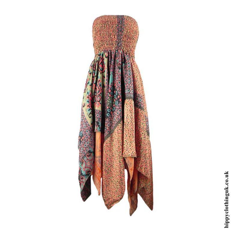 Peach-Recycled-Sari-Pixie-Hem-Hippy-Dress-Skirt