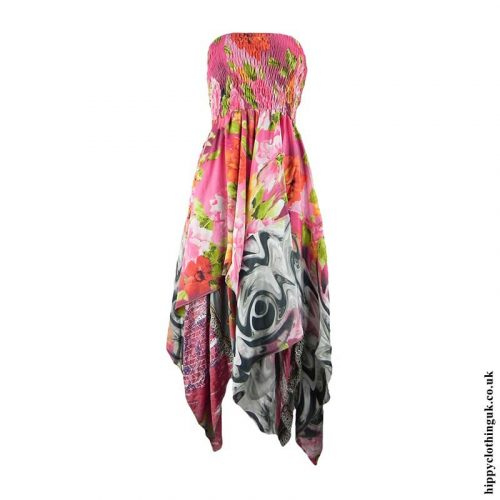 Pink-Recycled-Sari-Pixie-Hem-Hippy-Dress-Skirt