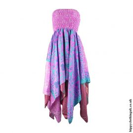 Pink-Recycled-Sari-Pixie-Hem-Hippy-Dress-Skirt