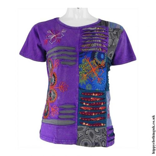 Purple-Embroidery-Patchwork-Hippy-T-Shirt