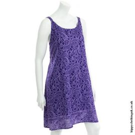 Purple Flower Print Hippy Dress