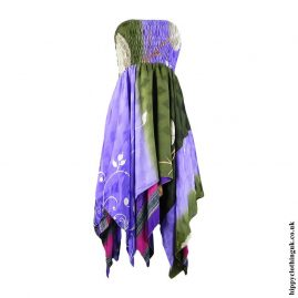 Purple-&-Green-Recycled-Sari-Pixie-Hem-Hippy-Dress-Skirt